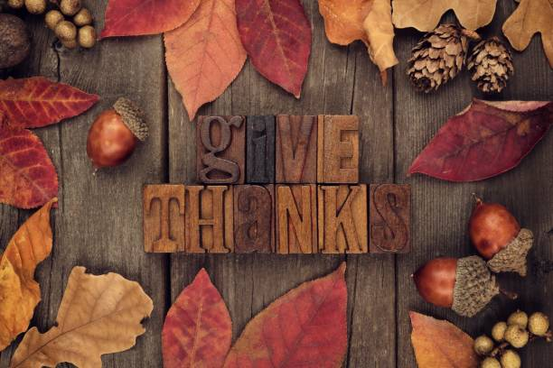 give thanks letterpress with frame of autumn leaves over wood - thanksgiving stock photos and pictures