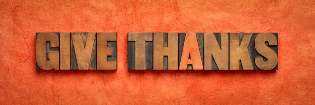give thanks - word abstract in wood type stock photo