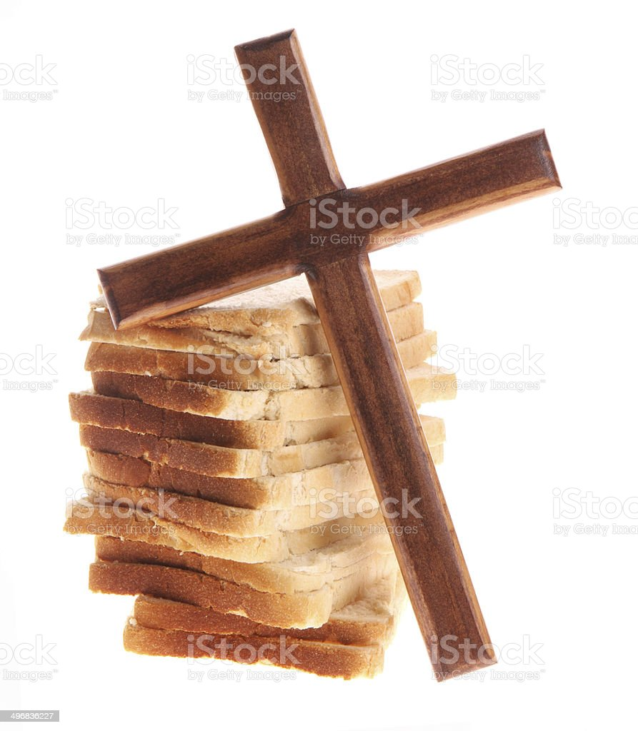 Give Us This Day Our Daily Bread on White Background stock photo