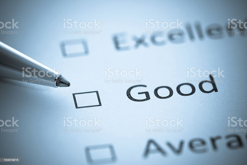 Give us your Opinion, Excellent, Good, Average, Selenium Tone stock photo