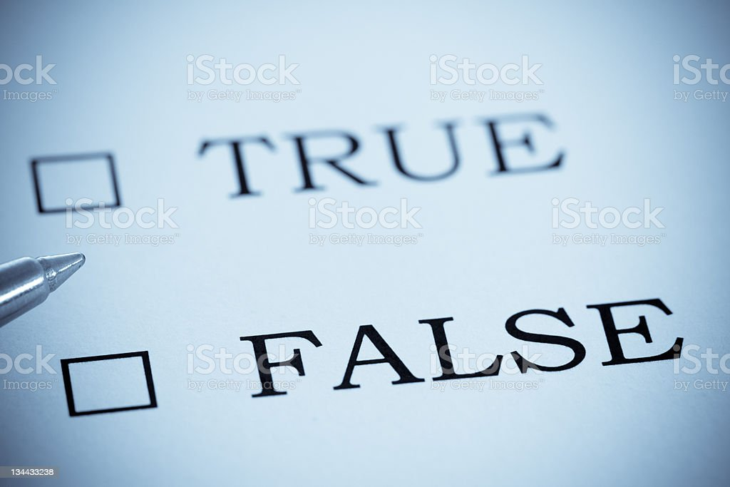 Give us your Opinion, True or False, Selenium Tone royalty-free stock photo
