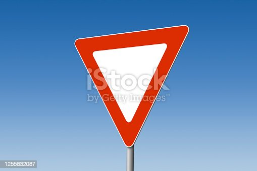 3D image of a dimensional give way road sign against blue sky