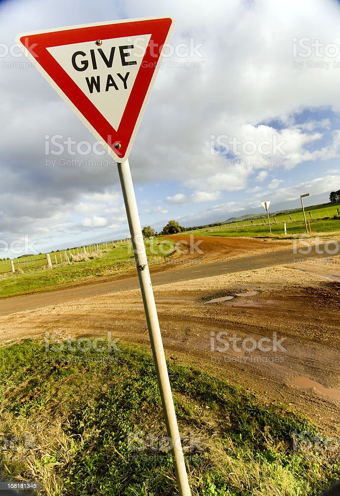 Give Way Sign stock photo