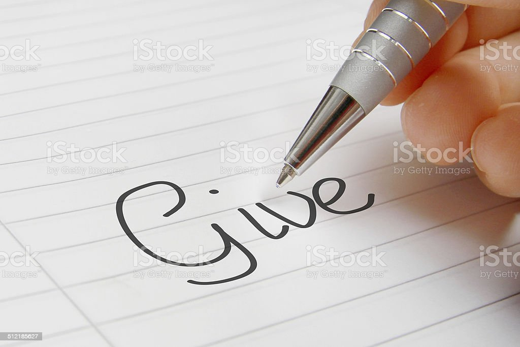 Give word concept handwriting stock photo