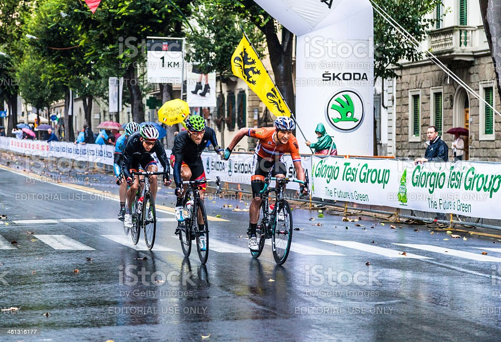 Giving a helping hand at the UCI Road World Championships stock photo