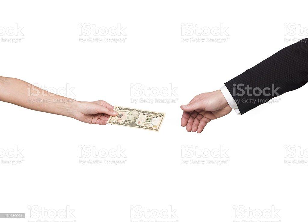 Giving away a dollar-bill stock photo
