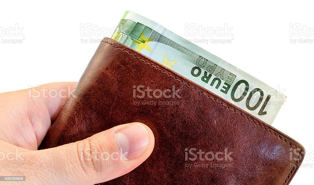 Um Bestechung von Braun Leder Brieftasche isoliert auf weiss – Foto