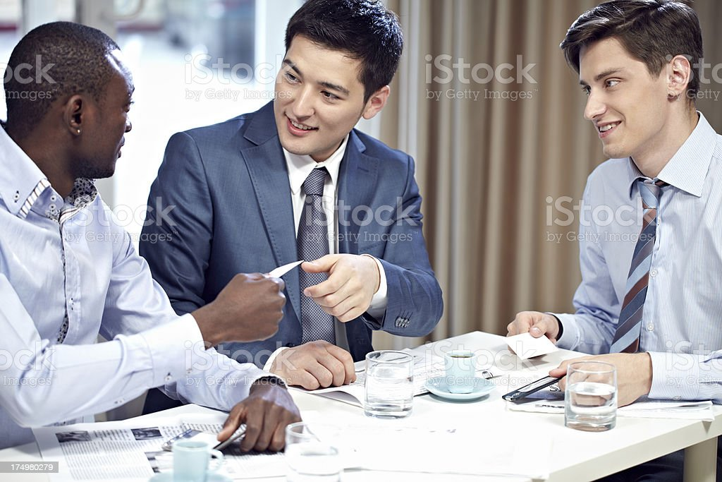 Giving business card stock photo