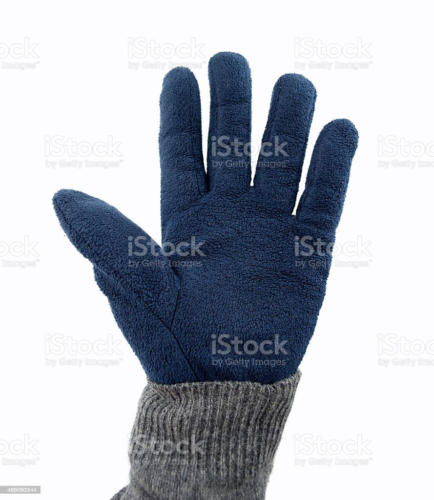 giving five with warm glove stock photo