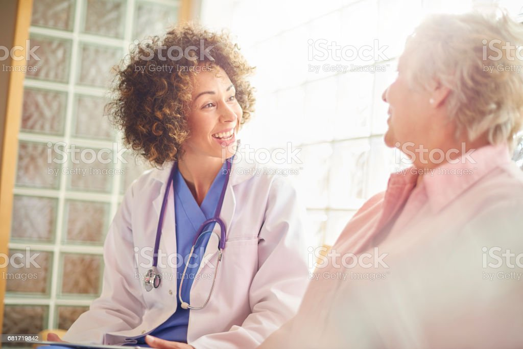 Giving her patient the all clear stock photo