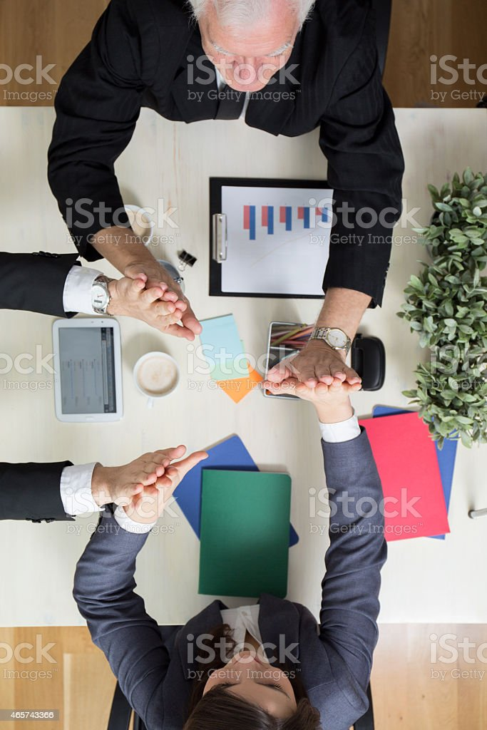 Giving high five stock photo