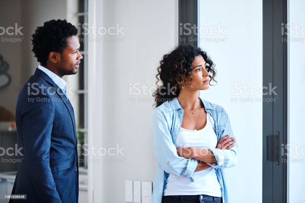Giving him the silent treatment stock photo