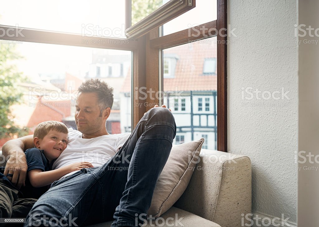 Giving his son the gift of his undivided attention - Lizenzfrei Alleinerzieher Stock-Foto