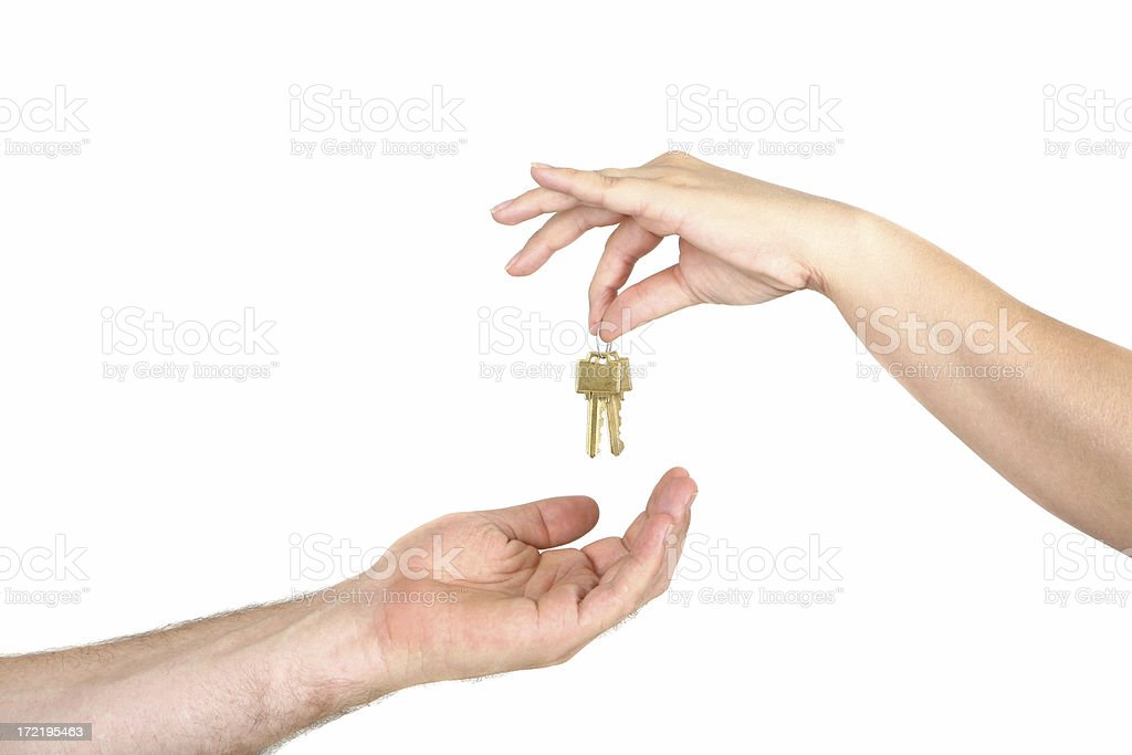 Giving House Keys royalty-free stock photo