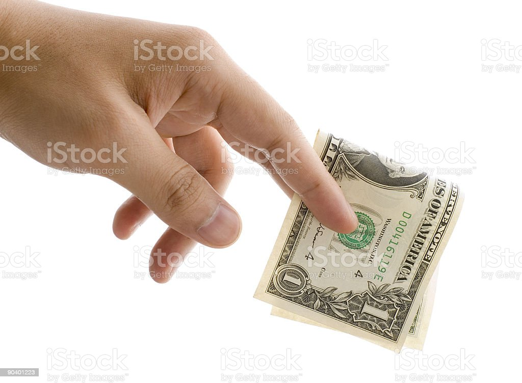 giving one dollar royalty-free stock photo