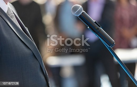 854811490 istock photo Giving speech at opening ceremony 1071672126