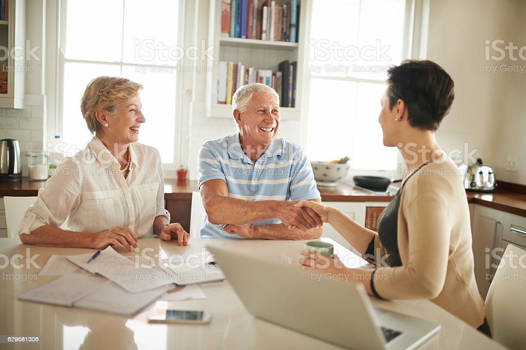 Giving them financial peace of mind stock photo