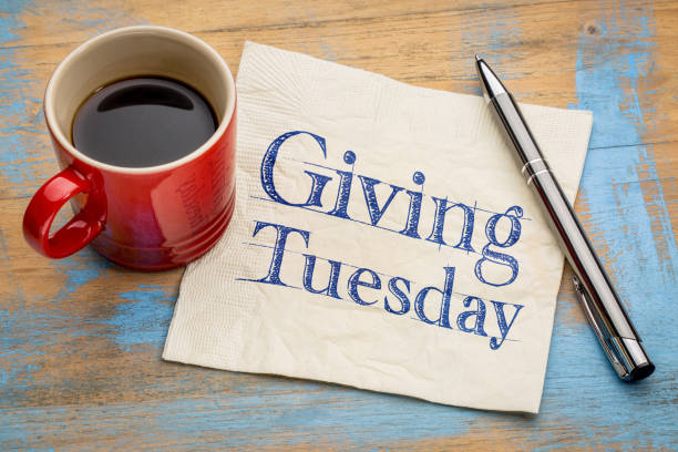 Giving Tuesday concept on napkin stock photo