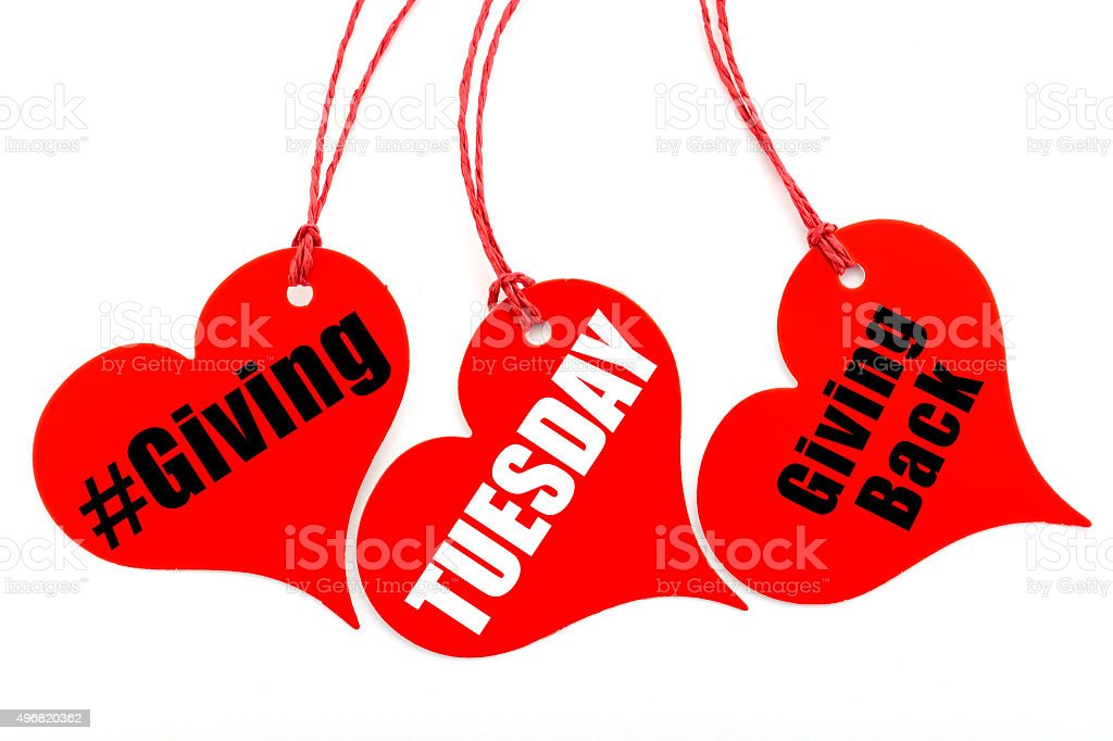 Giving Tuesday heart shape ticket. stock photo