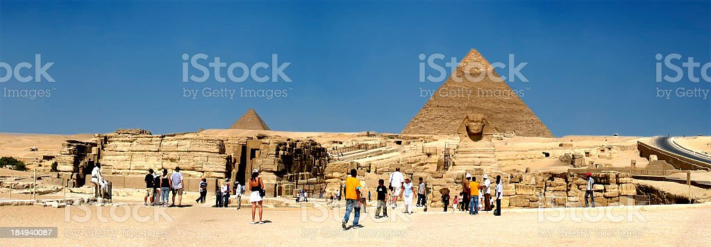 Giza Great Pyramids Panorama stock photo