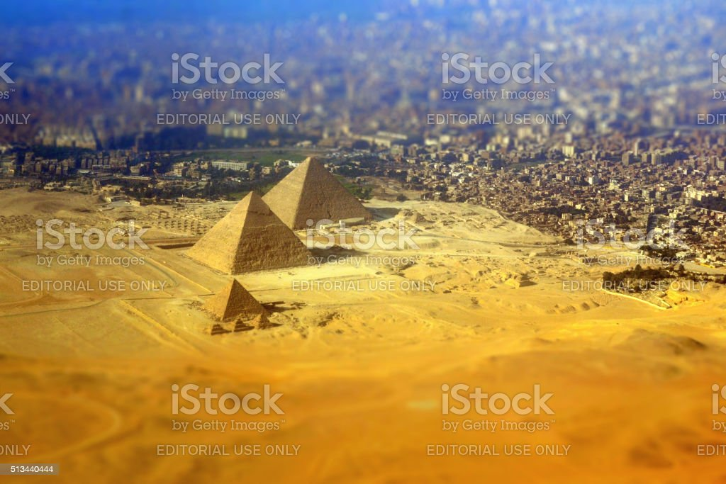 Giza Pyramid Complex seen from above stock photo