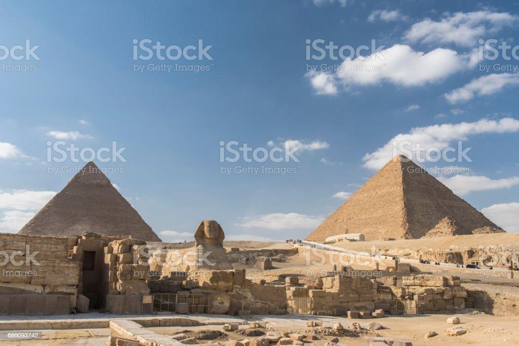 Giza Pyramids complex, Giza, Egypt. stock photo