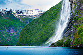istock Gjerdefossen waterfall, geirangerfjord, Norway 963288480