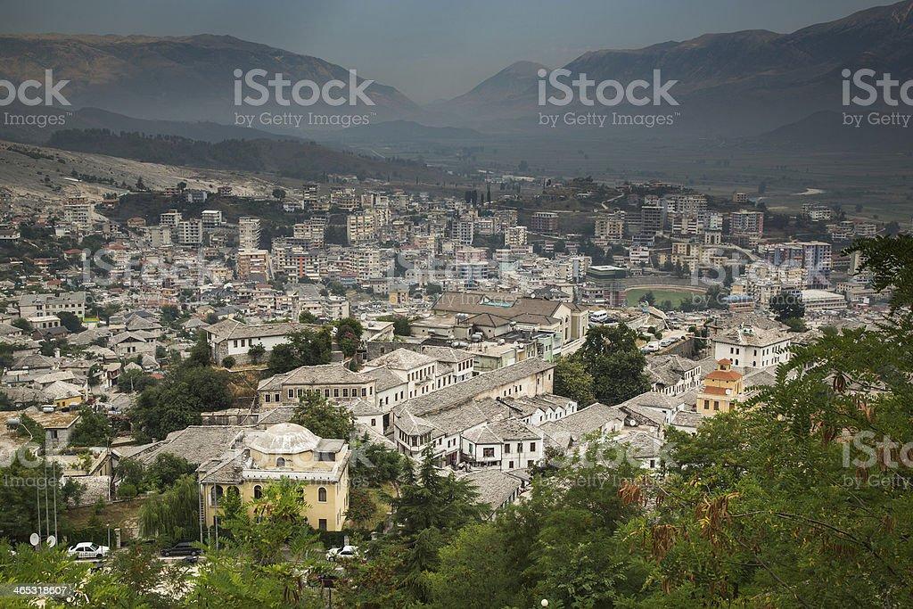 Gjirokastra, Albania old city stock photo