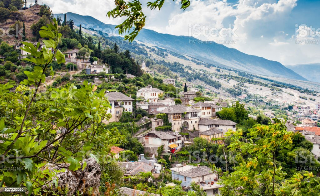 Gjirokastra Town Cityscape Top View from Castle Travel Tip Albania stock photo