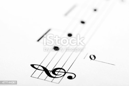 Detail of a music sheet with the G clef