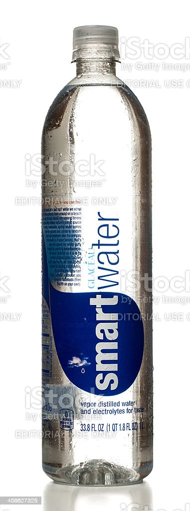 Glacéau SmartWater bottle with drops stock photo