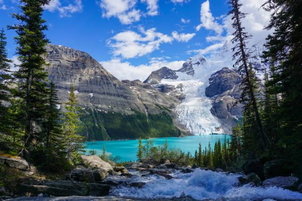 Glacial Berg Lake at the foot of Mount Robson, British Columbia, Canada stock photo