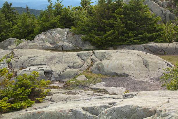 Glacial features in granite bedrock, Mt. Kearsarge, New Hampshir stock photo