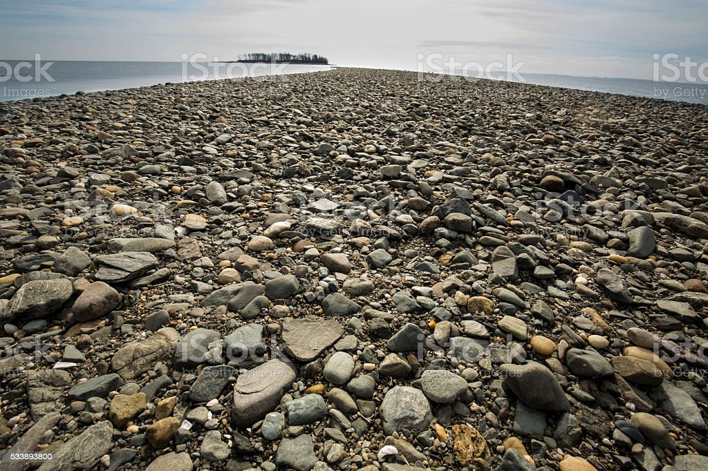 Glacial gravel spit at Silver Sands State Park, Connecticut. stock photo