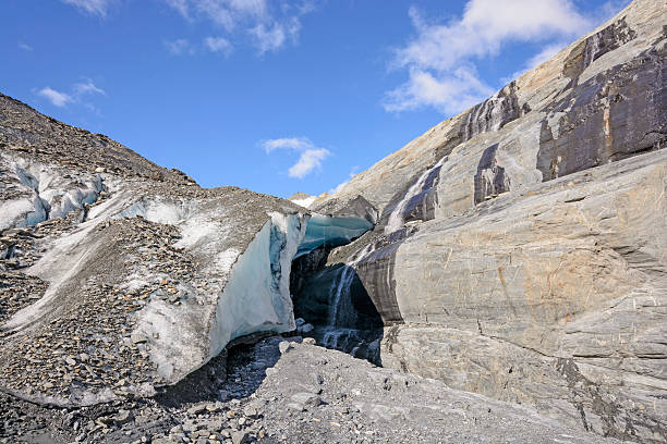 Glacial Ice and Bedrock on a Sunny Day stock photo