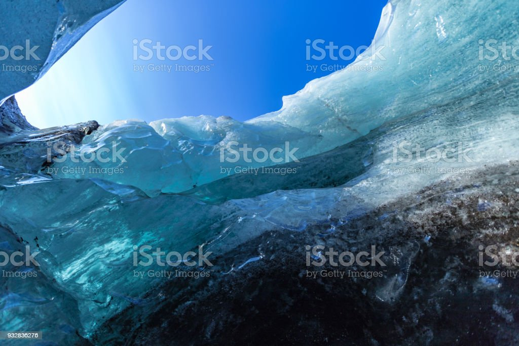 Glacial Ice cave in Iceland view to sky stock photo