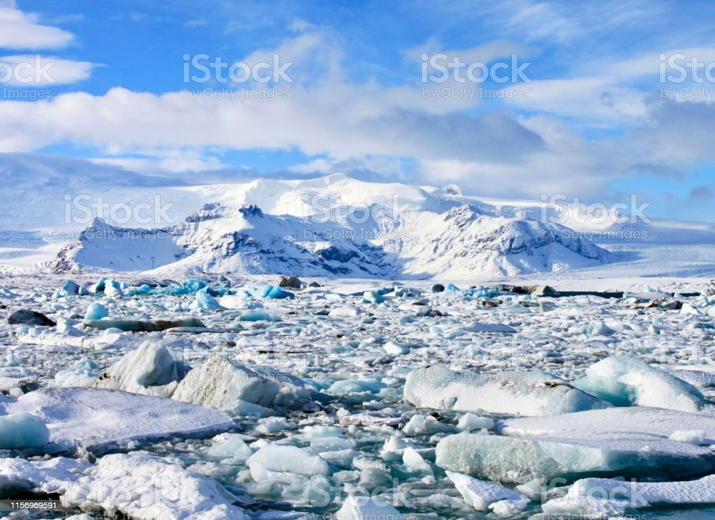 Glacial Lagoon Sights from southern Iceland's Jökulsárlón Glacial Lagoon. Adventure Stock Photo