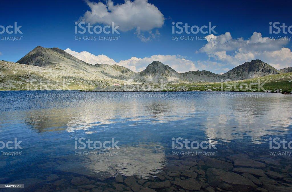 Glacial lake and mountain peaks at NP Pirin royalty-free stock photo