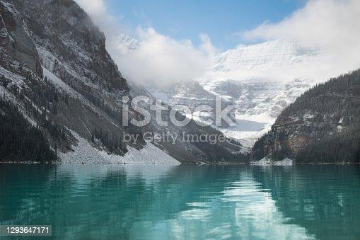 Glacial Lake and Mountains - green water