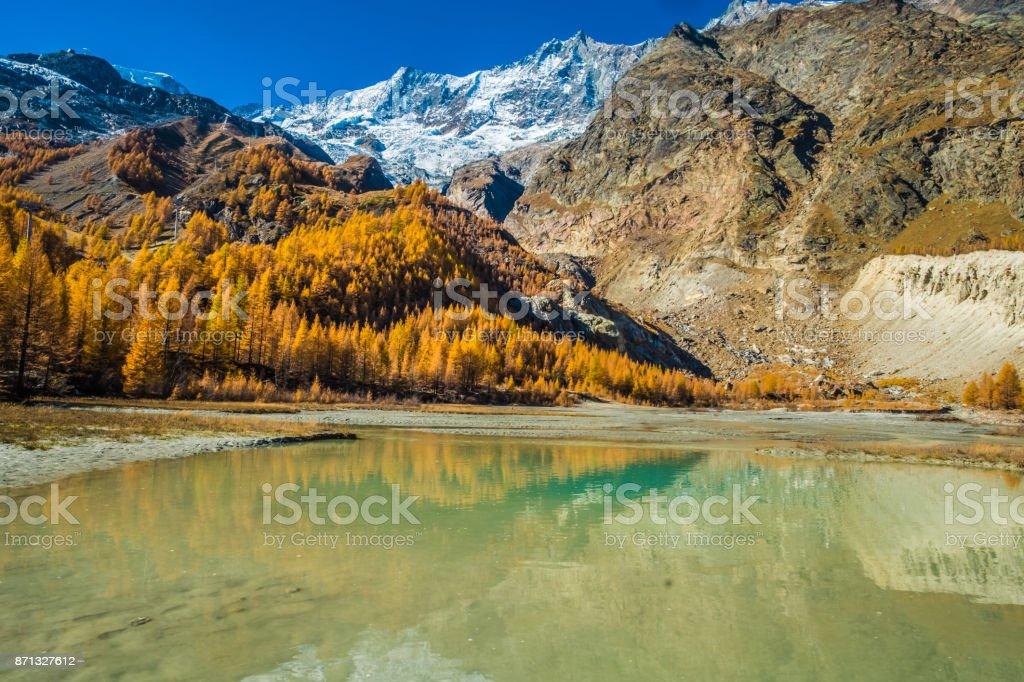 Glacial lake, Saas-Fee, Saastal,, Visp, Valais, Switzerland. stock photo