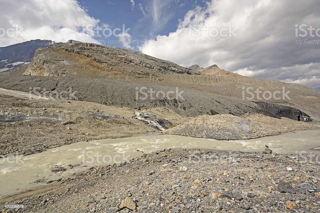 Glacial Moraine in the Mountains stock photo