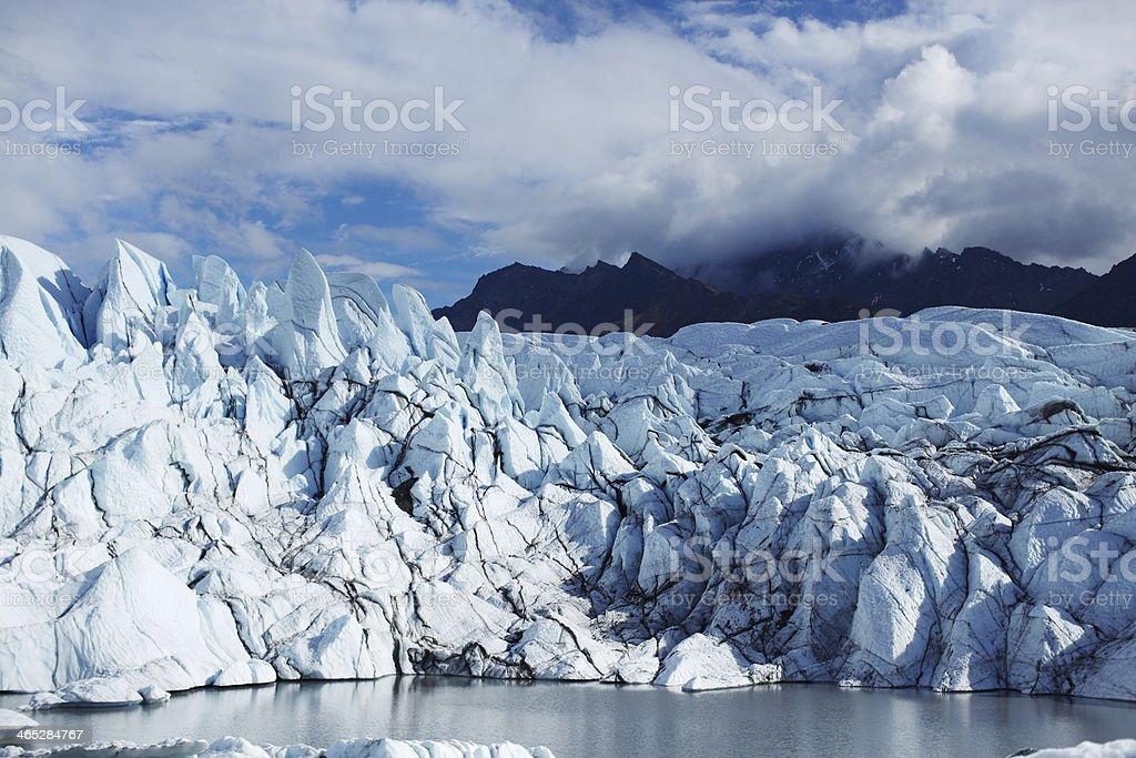 Glacial Peaks and Lake on the Matanuska Glacier, Alaska USA stock photo