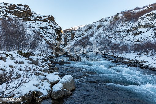 River streaming from the Glymur waterfall in Iceland in winter