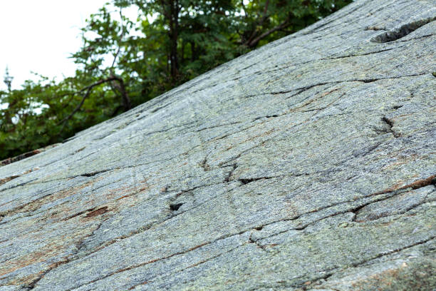 Glacial striations on granite bedrock on Mt. Kearsarge, New Hampshire. stock photo