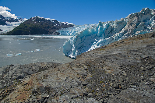 Glacial Striations on the rock margin near the face of  Chenega Glacier, Nassau Fiord, Prince William Sound, Chugach National Forest, Alaska. Geology feature showing errosion of the rocks by the glacier.
