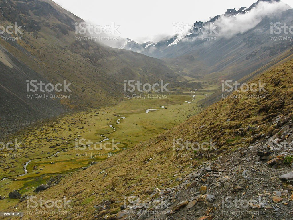 Glacial valley above Pelechuco, Bolivia. royalty-free stock photo