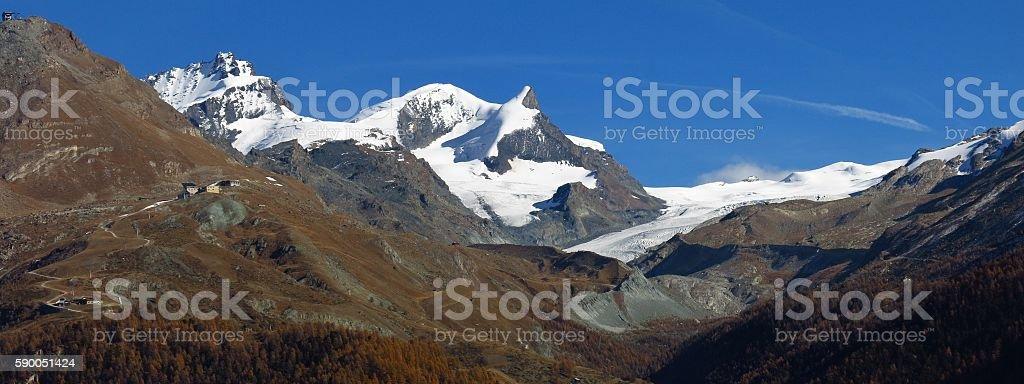 Glacier and high mountains in Zermatt stock photo
