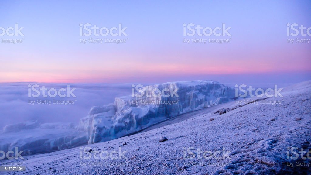 glacier and Kilimanjaro summit stock photo