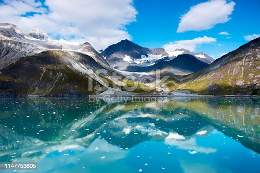 Majestic mountain range in Glacier Bay National Park, Alaska