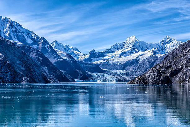 glacier bay national park and preserve, alaska - mountain range stock photos and pictures